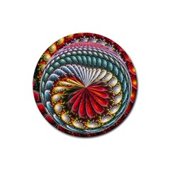 Circles Lines Background  Rubber Round Coaster (4 Pack)