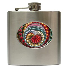 Circles Lines Background  Hip Flask (6 Oz)