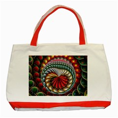 Circles Lines Background  Classic Tote Bag (red)