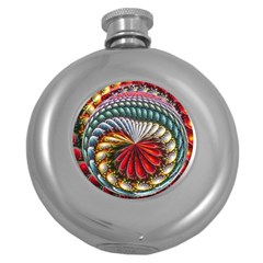 Circles Lines Background  Round Hip Flask (5 Oz)
