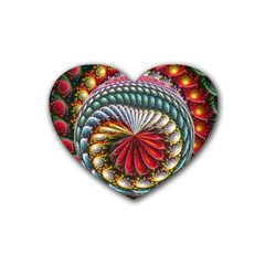 Circles Lines Background  Heart Coaster (4 Pack)