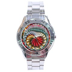 Circles Lines Background  Stainless Steel Analogue Watch