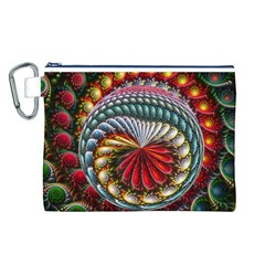 Circles Lines Background  Canvas Cosmetic Bag (l)