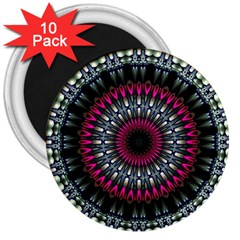 Circles Background Lines  3  Magnets (10 Pack)