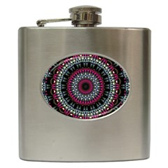 Circles Background Lines  Hip Flask (6 Oz)