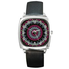 Circles Background Lines  Square Metal Watch