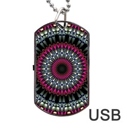 Circles Background Lines  Dog Tag Usb Flash (two Sides)