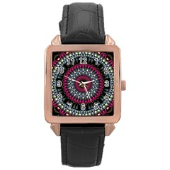 Circles Background Lines  Rose Gold Leather Watch