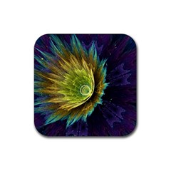 Flower Line Smoke  Rubber Square Coaster (4 Pack)