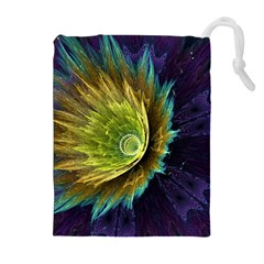 Flower Line Smoke  Drawstring Pouches (extra Large)