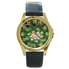 Fractal Flower Petals Green  Round Gold Metal Watch
