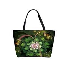 Fractal Flower Petals Green  Shoulder Handbags