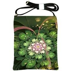Fractal Flower Petals Green  Shoulder Sling Bags