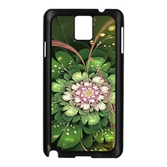 Fractal Flower Petals Green  Samsung Galaxy Note 3 N9005 Case (black)