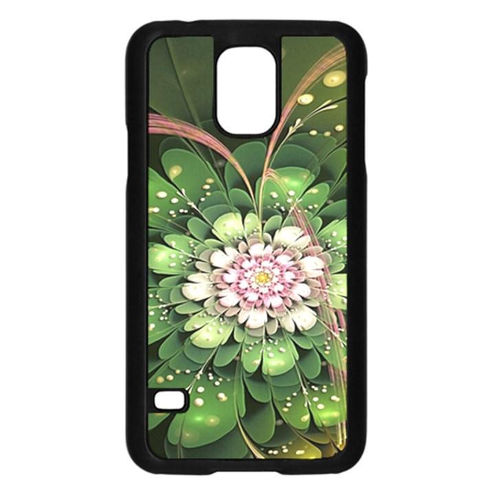 Fractal Flower Petals Green  Samsung Galaxy S5 Case (Black)
