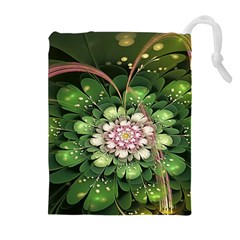 Fractal Flower Petals Green  Drawstring Pouches (extra Large)