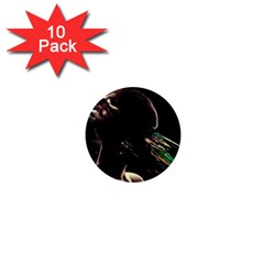 Face Shadow Profile 1  Mini Buttons (10 Pack)