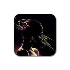 Face Shadow Profile Rubber Square Coaster (4 Pack)