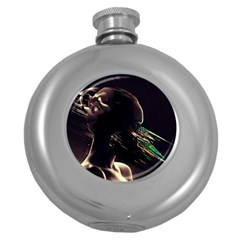 Face Shadow Profile Round Hip Flask (5 Oz)