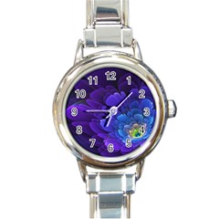 Purple Flower Fractal  Round Italian Charm Watch
