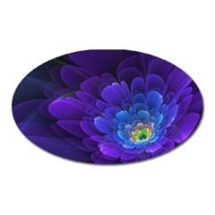 Purple Flower Fractal  Oval Magnet
