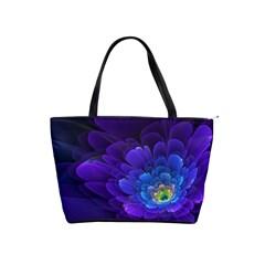 Purple Flower Fractal  Shoulder Handbags