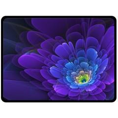 Purple Flower Fractal  Fleece Blanket (large)