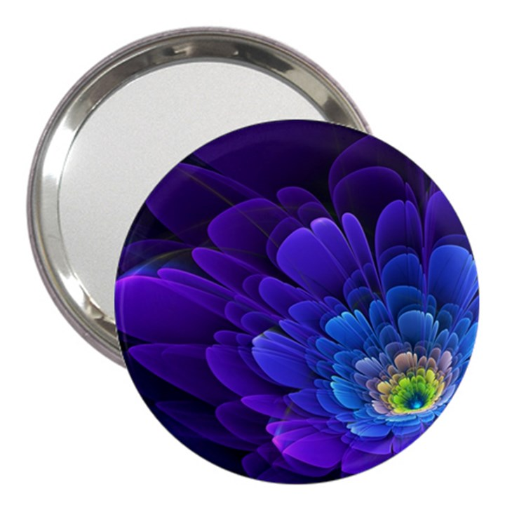 Purple Flower Fractal  3  Handbag Mirrors