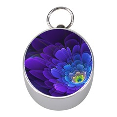 Purple Flower Fractal  Mini Silver Compasses