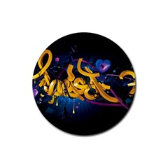 Sign Paint Bright  Rubber Round Coaster (4 Pack)