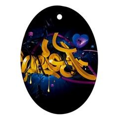 Sign Paint Bright  Oval Ornament (two Sides)