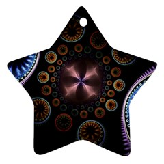 Circles Colorful Patterns  Ornament (star)