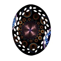 Circles Colorful Patterns  Oval Filigree Ornament (two Sides)