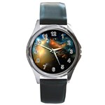 Explosion Sky Spots  Round Metal Watch Front