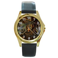 Mosaics Stained Glass Colorful  Round Gold Metal Watch