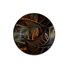 Mosaics Stained Glass Colorful  Rubber Round Coaster (4 Pack)