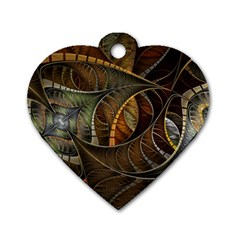 Mosaics Stained Glass Colorful  Dog Tag Heart (two Sides)