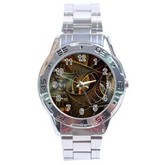Mosaics Stained Glass Colorful  Stainless Steel Analogue Watch
