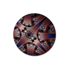 Lines Patterns Background  Rubber Round Coaster (4 Pack)