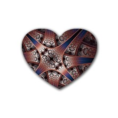 Lines Patterns Background  Heart Coaster (4 Pack)