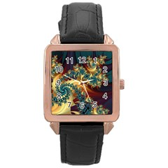Patterns Paint Ice  Rose Gold Leather Watch