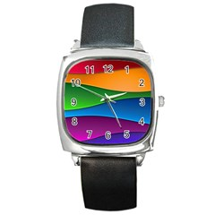 Layers Light Bright  Square Metal Watch