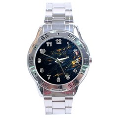 Spots Dark Lines Glimpses 3840x2400 Stainless Steel Analogue Watch