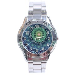 Background Line Light  Stainless Steel Analogue Watch