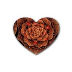 Flower Patterns Petals  Heart Coaster (4 Pack)