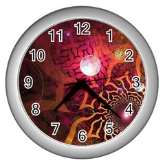 Explosion Background Bright  Wall Clocks (silver)