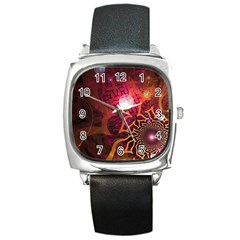 Explosion Background Bright  Square Metal Watch