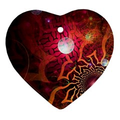 Explosion Background Bright  Heart Ornament (two Sides)