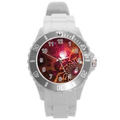 Explosion Background Bright  Round Plastic Sport Watch (l)