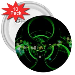 Radiation Sign Spot  3  Buttons (10 Pack)